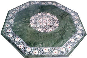 """24"""" Green Marble Coffee Table Top Mother of Pearl Floral Inlay Home Decors H2888"""