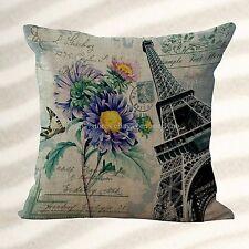 US Seller-Retro Paris Eiffel Tower Flower cushion cover throw pillow slip covers