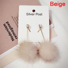 Soft Fur Ball Pompom Long Earrings Drop Dangle Earrings Women Ear Stud Jewelry0g Grey