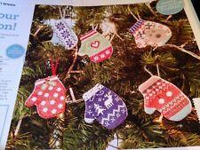 CROSS STITCH CHART 6 CHRISTMAS MITTEN DECORATION  CHARTS ONLY
