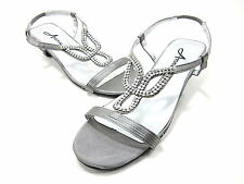 ANNIE SHOES, LIZZY SANDAL, WOMENS, PEWTER SATIN, US SIZE 6.5 M, NEW DISPLAY
