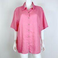 Avenue Size 26/28 100% Linen Blouse Top Short Sleeve Button Down Pink Shirt