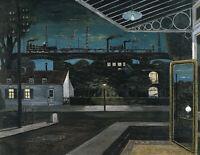 PAUL DELVAUX El Viaducto (1963) (58x45cm), CANVAS, POSTER FREE P&P