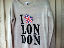 I LOVE LONDON Knit Sweater Pullover Womens L Flag UK ENGLAND Thin Hipster Boho