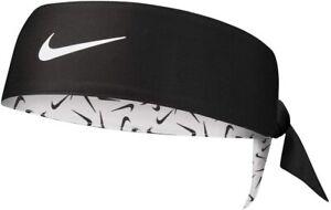 Nike Dry Head Tie Headband Black White Reversible Sweatband Womens 100% Genuine