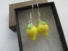 Lemon Yellow 3D Juicy Fruit - Yummy 5 Five A Day Fun Earrings  - Boxed