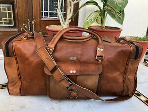 "25"" Women's Leather Travel Luggage Duffel Shoulder Gym Weekend Traveling Bag"