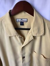 Tommy Bahama Men's 100% Silk Yellow Embossed Plaid Hawaiian Shirt Large