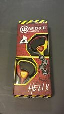 Wicked Audio Helix headphones Ear-Huggers Maroon/Yellow ear buds