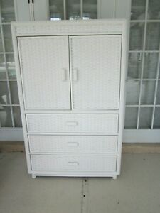 Vintage White Wicker Shabby Chic  Armoire Two Door Three Drawer Ivory Color