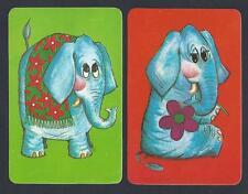 #920.736 Blank Back Swap Cards -MINT pair- Retro elephants