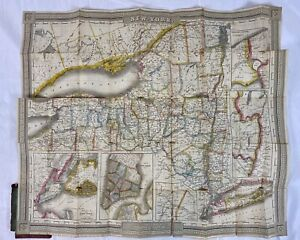 1836 David Burr Pocket Folding Map New York, Manhattan, Brooklyn, J. H. Colton