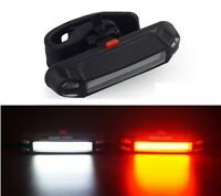 white & red cob USB rechargeable bike light - 2 in 1 warning LED head tail