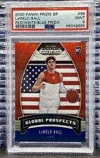 🔥2020-21 Panini Prizm DP Lamelo Ball #98 Red/White/Blue PSA 9 MINT Rookie RC SP