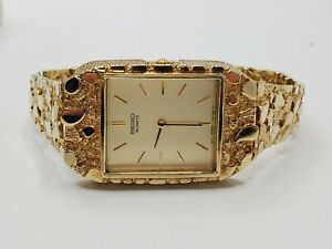 "Mens 10k Solid Yellow Gold Nugget Seiko Quartz Watch Vintage 7.5"" Long"