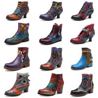 SOCOFY Women's Floral Retro Genuine Leather Shoes Splicing Hook Loop Ankle Boots
