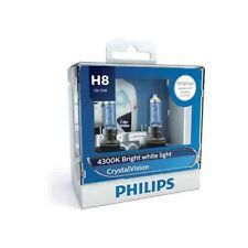 Philips H8 Crystal Vision 12V 35W 4300K Bright White Light 12360CVS2 Pack of 2