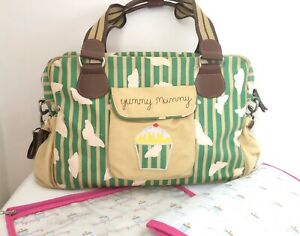Pink Lining Yummy Mummy Baby Changing Bag -Green Stripe Butterflies *Immaculate!