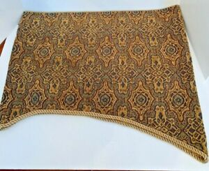 "JC Penney 50"" Long Rod Pocket Window Valance 21"" Scalloped Heavy Brown Fabric"