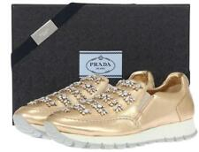 NEW PRADA LUXURY SWAROVSKI CRYSTALS GOLD LEATHER SNEAKERS CASUAL SHOES 40/US 10