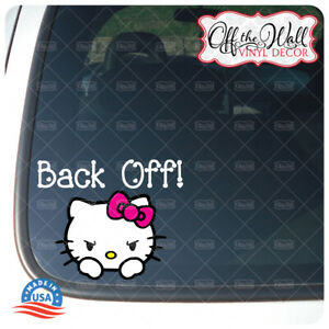 "Hello Kitty ""Back Off!"" Vinyl Decal Sticker for Cars/Trucks"