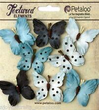 BUTTERFLY BLUE Mix 8 Teastained Paper 32-33mm across Darjeeling Petaloo Ver