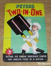PETERS Two in One ICE CREAM TIN SIGN Australian vintage retro diner milk bar 50s