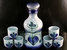 East German GDR STREHLA Pottery Bottle/Decanter w/6 Glasses Mid Century