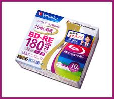 10 Verbatim Bluray BD-RE 25GB 2x Speed Rewritable BluRay Inkjet Printable Discs