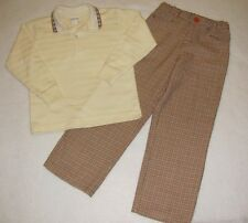 Boys IMP ORIGINALS 2PC Shirt Pants 6 SMALL PAUL Houndstooth Brown Orange Beige