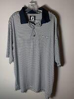 Footjoy FJ Men Golf Polo Shirt Short Sleeve Blue Striped Stretch Pro AM Tribe