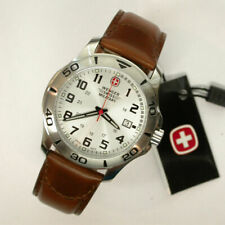 BRAND NEW WENGER 79274 SWISS MILITARY ESCORT SILVER DIAL BROWN STRAP MENS WATCH