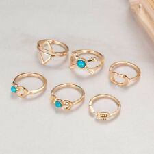 Combo High Gloss Plated  Six Pieces Moon Arrow Turquoise Beads Rings Set