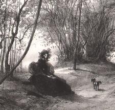 XIXe Lithographie Gavarni Solitude L'artiste