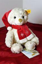 Steiff Teddybär Weihnachtsmann mit roter Zipfelmütze schal 26 Cm weiß 022401