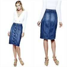 NWT GUESS BUTTON-FRONT DENIM MIDI SKIRT IN TRADING POST WASH SIZE 26