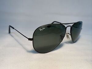 Vintage BAUSCH & LOMB B&L RAY-BAN USA G15 Glass Black Metal Aviator Sunglasses