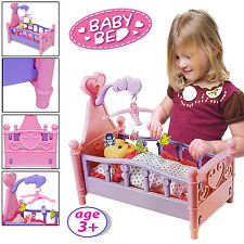 BABY GIRLS CRADLE ROCKING BED CRIB DOLL COT BEDS TOY CHILDREN KIDS PLAY GIFT SET