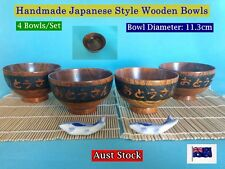 NEW Japanese Style Handmade Wooden Rice Bowls Dinner Set - 4 pcs/set (B165)