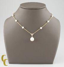 14k oro giallo PERLA CATENINA COLLANA CON / perla e pendente con diamante