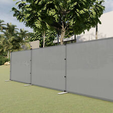 Gray 4ft Outdoor Mesh Fence with Poles Movable Freestanding Patio Pool Fencing