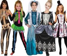 Girls Skeleton Costume Halloween Deluxe Skeletones Outfit Kids Queen New