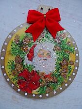 Vintage Image Glittered CHRISTMAS Ornament - Face of Santa in Wreath