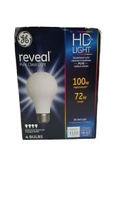 4 Pack GE Reveal HD + Light 100w 72w Enhanced Spectrum Halogen Bulbs 67774