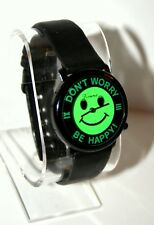 Vtg Vienna Don't Worry Be Happy Mystery Green Dial Smiley Face Watch New NOS