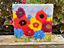 Wild flowers painting on wood, textured bouquet, Encaustic  art