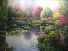 "Japanese Garden With Waterilies, Original Landscape Oil Painting Art, 34"" x 26"""