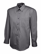 Uneek Mens Pinpoint Oxford Long Sleeve Formal Work Office Shirt Uc701 Charcoal L
