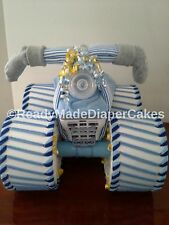 Blue Grey and Yellow Themed Baby Boy Shower Decor Four Wheeler Diaper Cake Gift