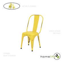 Set de 4 chaises en métal jaune vintage pour cuisine ou salle à manger